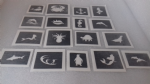 10 - 100 seaside themed mini small stencils for glitter tattoos / airbrush / face painting  Ideal for Fund raising penguin seashell anchor sea ocean